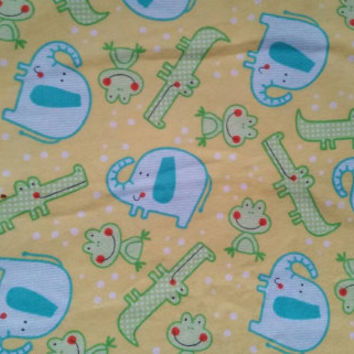 Flannel baby fabric with frogs alligator elephants cotton print quilters sewing material by the yard BTY frog flannel fabric print crafting