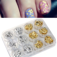 12 PCS Nail Art Gold Silver Paillette Flake Chip Foil DIY Acrylic UV Gel Pager Easy to apply on natural or artificial nails Anne