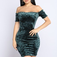 Elody Velvet Dress - Hunter Green