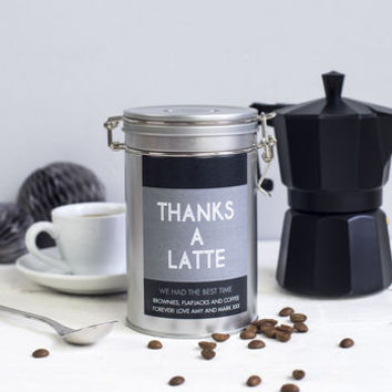 'Thanks A Latte' Personalised Coffee Gift Tin