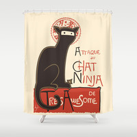 A French Ninja Cat (Le Chat Ninja) Shower Curtain by Kyle Walters