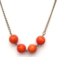 Antiqued Brass Orange Coral Round Bead Necklace by gemandmetal