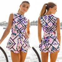 Elegant Jumpsuit for Women Sleeveless Slim Short Overalls Ladieswear Print Floral Sexy Jumpsuits & Rompers