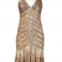 Theia 881259 Flapper Style Cocktail Dress - Gold