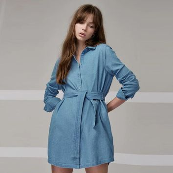 Fashion Long Sleeve Dress Solid  Buttons Dress Preppy Casual Style Denim Dress