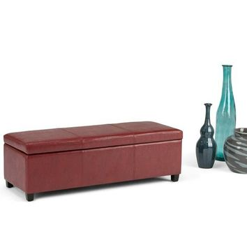 Large Leather or Linen Rectangular Storage Bench Ottoman