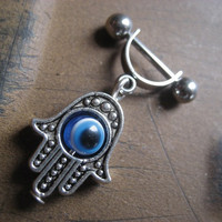16 Gauge Helix Cartilage Bar Hand Of Fatima Hamsa Blue Evil Eye Charm Dangle 16g G Industrial Barbell Upper Ear Piercing