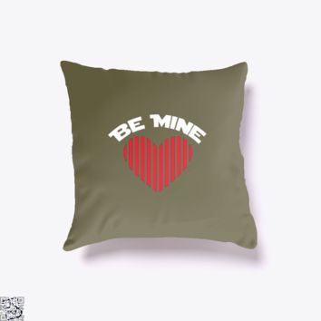 Be Mine Valentine Retro Striped Heart Youth, Valentine's Day Throw Pillow Cover