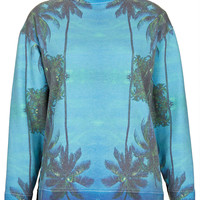 **Palm Tree Digital Sweater by Illustrated People - Sale - Sale & Offers - Topshop