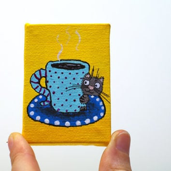Coffee decor Kitchen art small canvas Coffee art Cup of coffee Yellow art Funny Gift for her Kitchen painting Coffee lovers gift