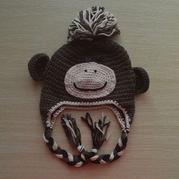 Crochet Brown Monkey Baby Beanie/ Hat
