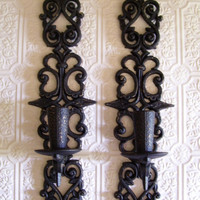 Wall Candleholder Wall sconces painted Wall decor Gothic Home decor Renaissance upcycle Black Burwood Vintage Ornate Arts and crafts