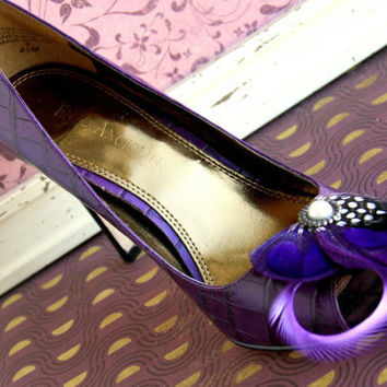 BERNIE Purple Peacock Shoe Clips Couture Wedding by Lucyohlucy