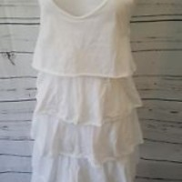 ALMERIA solid White ruffled botton cotton Dress size M Medium made in Italy