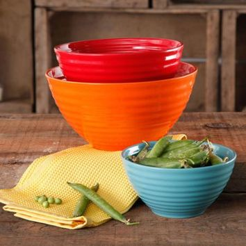The Pioneer Woman Flea Market 3-Piece Ceramic Mix Bowls - Walmart.com