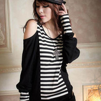 Stylist Black Stripe Ladies Skinny Dresses : Wholesaleclothing4u.com