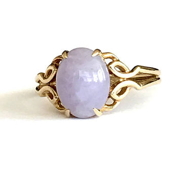 Lavender Jade 14k Ring, Natural, Vintage 1970s, Jadeite Ring, Double Band Open Work Design