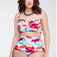 Bikini set Plus size Floral Print Push up Bandeau Bathing suit FREE shipping