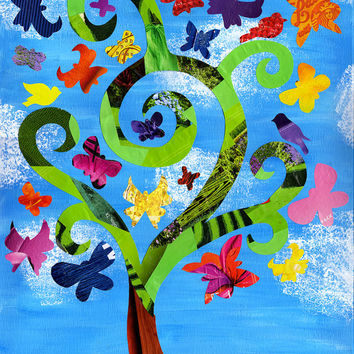 Mother's day gift, Tree of Life, Butterfly print, Children's art, mixed media collage, tree painting, bohemian decor, Birthday gift