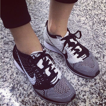 """NIKE"" Net surface breathable sneaker soft-soled running casual shoes Grey black"