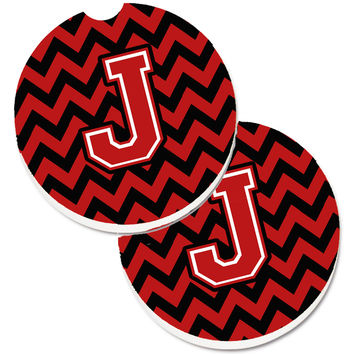 Letter J Chevron Black and Red   Set of 2 Cup Holder Car Coasters CJ1047-JCARC