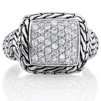 Sterling Silver 925 Cubic Zirconia CZ Woven Fashion Right Hand Ring #r092