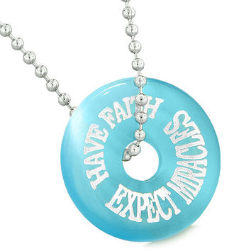 Inspiration Have Faith Expect Miracles Amulet Lucky Donut Sky Blue Simulated Cats Eye 18 Inch Necklace