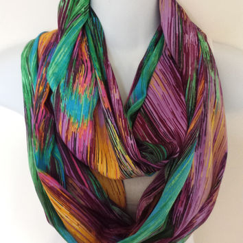 Spectrum Lines Infinity Scarf India Silk Scarf Multicolor Circle Scarf Fashion Scarves Rainbow Eternity Loop Womens Scarves Abstract Scarf