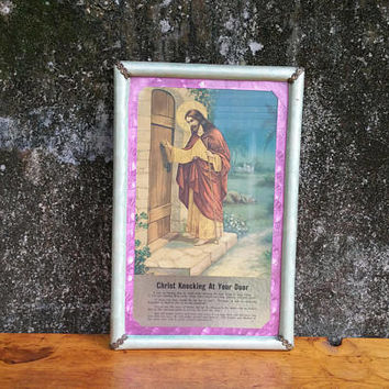 Vintage Christ Knocking at Your Door Foil Lithograph Print Religious Fine Art Company Knoxville TN