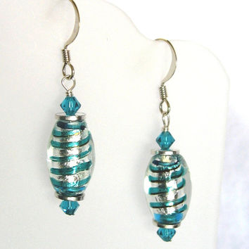 Earrings of Foil Lined Lampworked Glass Beads in Turquoise and Silver Striped Swirls with Swarovski Crystals Accents