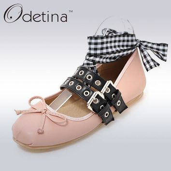 Odetina 2017 New Spring Brand Women Ballet Flats With Straps Bowknot Lace Up Falt Shoe