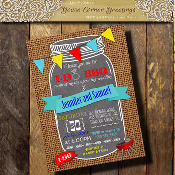 I Do BBQ Mason Jar  Invitation Chalkboard Burlap Couples Shower Rehearsal Dinner Wedding invitations any color yellow Blue