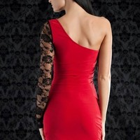 asymmetrical lace sleeve dress $29.90 in BLACK RED - Nightclub | GoJane.com