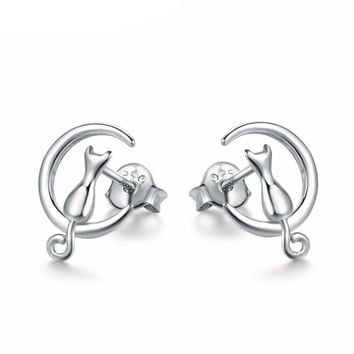 Sterling-Silver Cat on Moon Stud Earrings