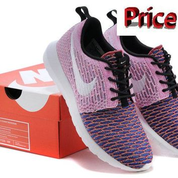 Purchase Nike Flyknit Roshe Run Random Yarn Pink Flash Club Purple Persian Purple Silver sneaker