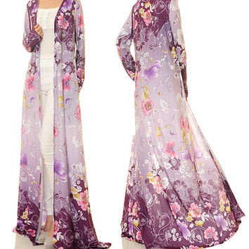 Purple Floral Maxi Cardigan / Long Sleeve Cardigan / Jersey Abaya Maxi Dress - Free Size Fits S/M/L (6353)