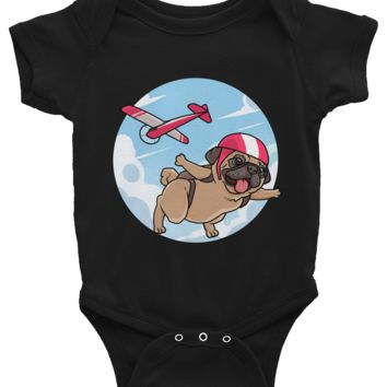 Pug Baby Girl Onesuit | Funny Skydiving Dog Romper | The Jazzy Panda