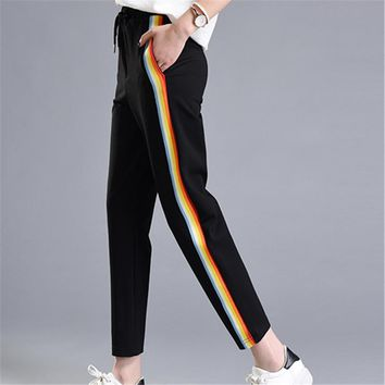 Fashion Casual Colorful Rainbow Side-stripe Pants