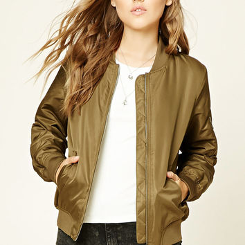 Faux Fur-Lined Bomber Jacket
