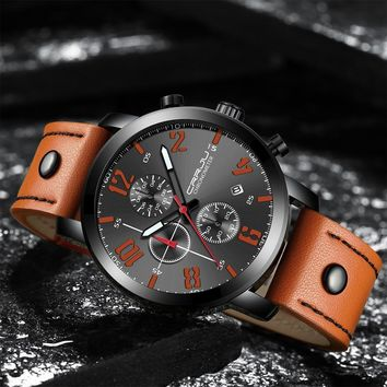 Men's Leather Strap Military Dial Chronographic Wrist Watch