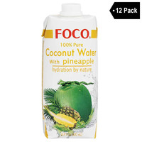 12 Pack Foco 100% Pure Coconut Water with Pineapple 16.9 fl. oz.
