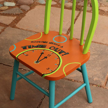 Time Out Chair hand painted kids wooden chair