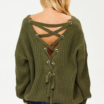 Chelsea Back Lacing Knit Sweater