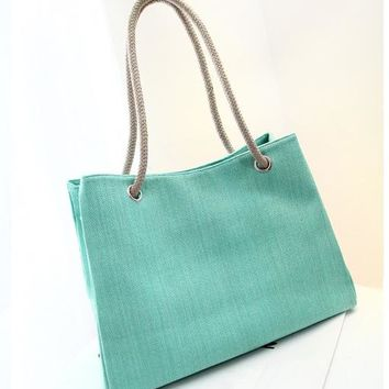Solid Colors Woven Shoulder Beach Tote Purse Canvas Handbags Totes Bags