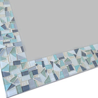 Mosaic Mirror // Neutral White, Gray, and Light Aqua // Beach House Decor