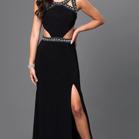 Long Black Prom Dress with Cut Outs