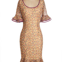 Vintage Inspired Long Short Sleeves Shift Dots for Sure Dress