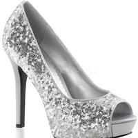 Lumina Silver Sparkle Slip On Pumps