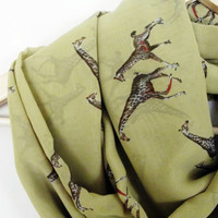 Giraffe Print Green Lightweight infinity Scarf, Women Accessories