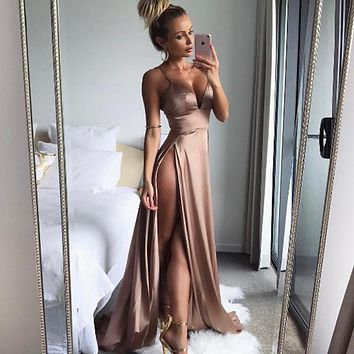 Women Satin Gold Split Floor Length Maxi dress Summer 2018 Sexy Party Dress Long Tunic Spaghetti Strap Club Dress female Vestido